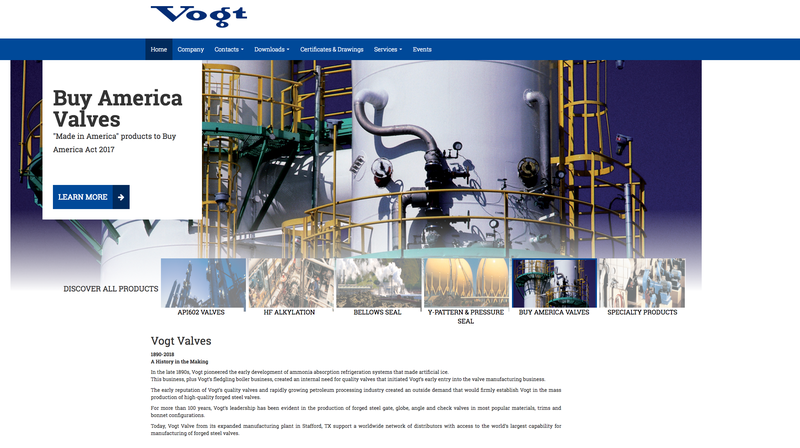 New Vogt Valves wesite